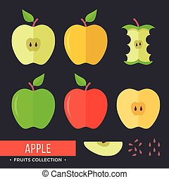 Apple set. Red, yellow and green apples. Modern flat icons. Vector illustration