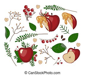 Apple set. Whole red apple, apple slice, honey, leaves, twigs and flowers. Scrap set for the Jewish new year. HARVEST. DAY OF THANKSGIVING