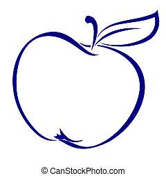 Apple Shape Made in Blue. Illustration on white background.