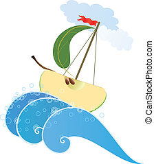 apple ship - vector illustration of the stylized apple like ...