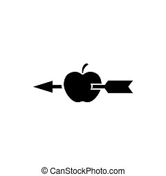 Apple Shot with Arrow Flat Vector Icon