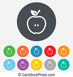 Apple sign icon. Fruit with leaf symbol.