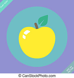 Apple sign icon. Fruit with leaf symbol - vector