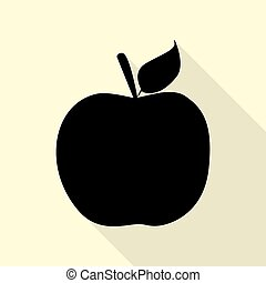 Apple sign illustration. Black icon with flat style shadow path on cream background.