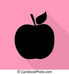 Apple sign illustration. Black icon with flat style shadow path on pink background.