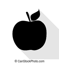 Apple sign illustration. Black icon with flat style shadow path.
