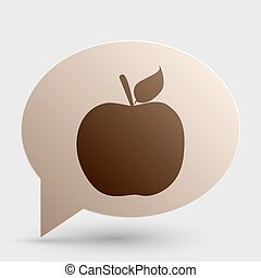 Apple sign illustration. Brown gradient icon on bubble with shadow.