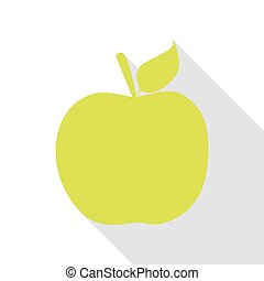 Apple sign illustration. Pear icon with flat style shadow path.