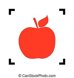 Apple sign illustration. Vector. Red icon inside black focus corners on white background. Isolated.