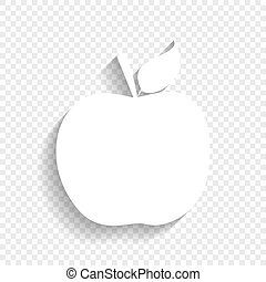 Apple sign illustration. Vector. White icon with soft shadow on transparent background.