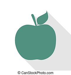 Apple sign illustration. Veridian icon with flat style shadow path.