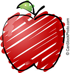 Apple sketch - Sketch of an apple Hand-drawn lineart look ...