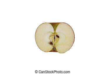 Apple slice isolated on white. Top view. With clipping path