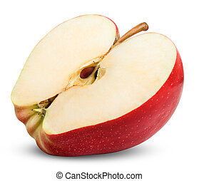 apple slice isolated on white background. Clipping Path