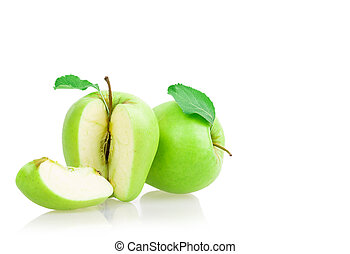 apple sliced isolated on white background