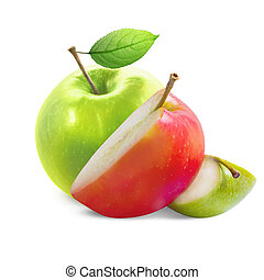 Apple slices isolated on white background with clipping path