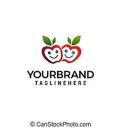 apple smile logo design concept template vector