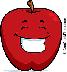Apple Smiling - A cartoon red apple happy and smiling.