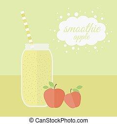 Apple smoothie in jar