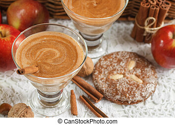 Apple smoothie with nuts and cinnamon. Diet drinks. Healthy eating. Soft focus