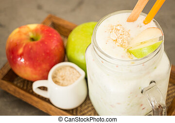 Apple smooties in glass jar