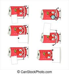 Apple soda can cartoon character bring information board