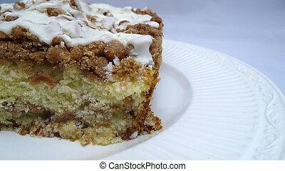 Apple spice crumb cake. - Apple spice crumb cake with white...