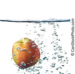 apple splash in water