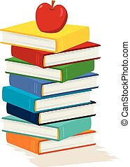 Apple Stack Book - Stack of books with apple on white...