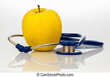 apple., stethoscope, eten, gezonde