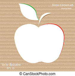 apple - Vector green paper apple card design
