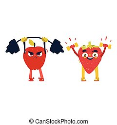 Apple, strawberry characters working out in gym