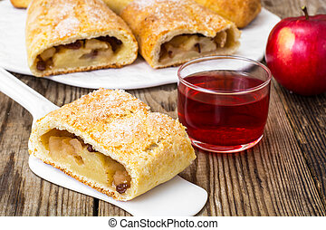 Apple strudel with cottage cheese and raisins