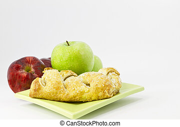 Apple strudel with red and green apples