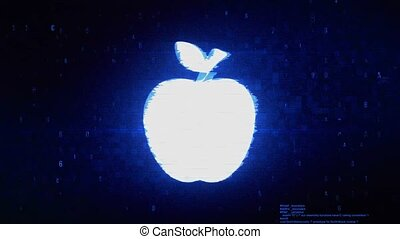 Apple Symbol Digital Pixel Noise Error Animation.