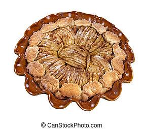 Apple tart on white background