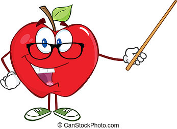 Apple Teacher With A Pointer - Smiling Apple Teacher ...