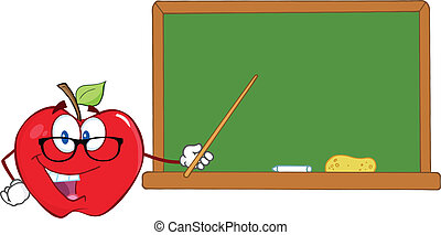 Apple Teacher With A Pointer