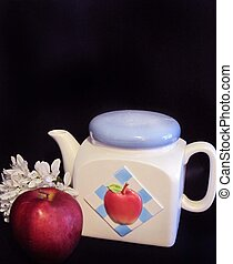 Apple teapot with apple and flower
