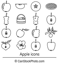 apple theme black simple outline icons set eps10