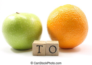Apple to Orange - Apple to orange showing the contrast of...