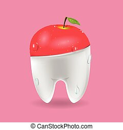 Apple Tooth Mixed Dental Symbol Vector