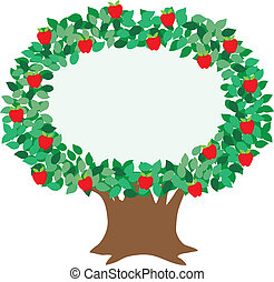 Apple Tree - An isolated, stylized illustration of an apple ...