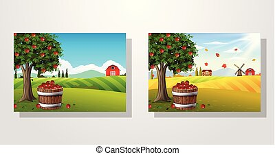 Apple tree and basket of apples in farm landscape