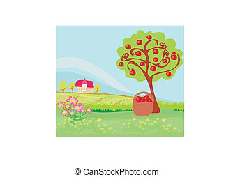 apple tree and cottage , landscape