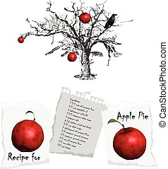 apple tree - apple pie - an hand drawn illustration, recipe...