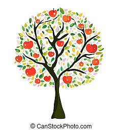 Apple tree at the autumn, vector graphic illustration in...