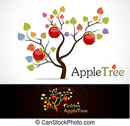 Colorful apple tree with delicious red apples and golden apple tree.