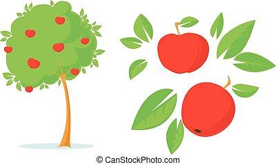 apple tree flat design illustration