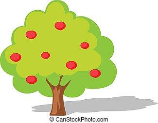 Apple tree flat design illustration isolated on white